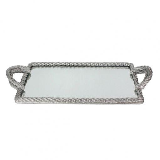 Bandeja com espelho prata
